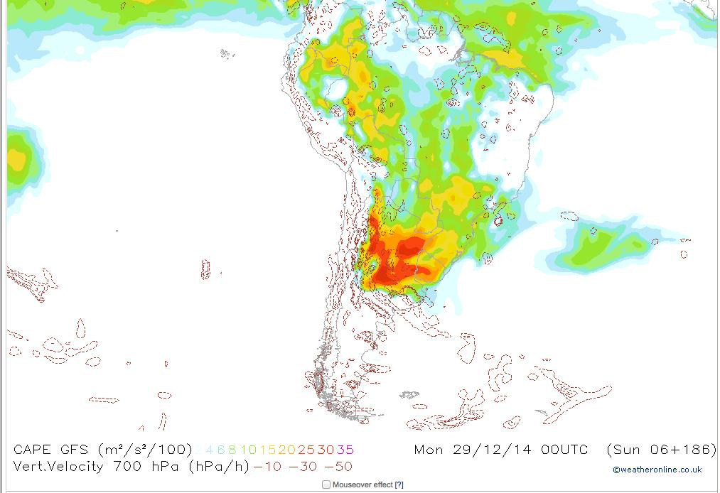 CAPE index v Jižní Americe 21.12.2014